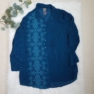 JOHNNY WAS Embroidered Tunic Blouse Large
